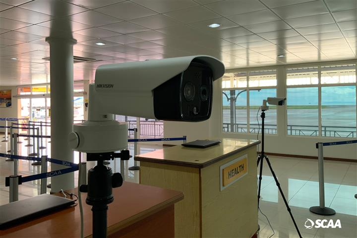 One of the fever detecting cameras being used at the Seychelles International Airport